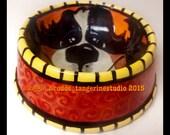 bernese mountain dog  ceramic dog bowl hand painted glazed bowl orange love maggie brudos tangerine studio