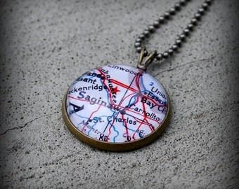Saginaw Map Necklace