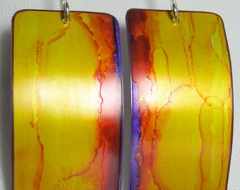Handpainted Earrings - Gold and purple - Lightweight - Sterling Silver Earwires