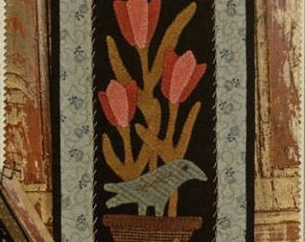 Primitive Folk Art Wool Applique Pattern - Basin Banners Thru the Year - May Potted Tulips