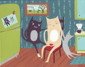 Mother's Day Card - Whimsical Cats Helping Put on Socks! - Cute Funny Folk Art