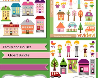 Family Houses clipart sale bundle, commercial use clip art, mom dad kids, building cliparts, digital images