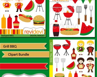 Grill BBQ party Clipart Bundle sale / Barbecue digital clip art / hamburger, hotdog, ketchup / commercial use, summer clipart