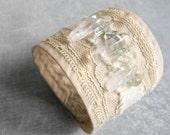 Fabric and Lace Cuff Bracelet with Quartz Crystal sticks / Bohemian Wedding Bracelet / Eco friendly Jewelry by Luluanne ~ ON SALE