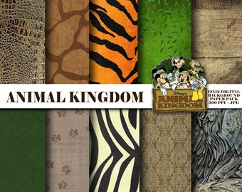 Animal Kingdom Themed Digital Scrapbooking Background Papers - 12x12 300 ppi - DiY - INSTANT DOWNLOAD