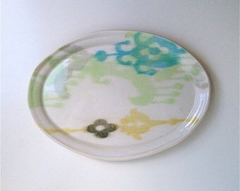 Oval Ikat Porcelain Tray