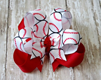 """Boutique Baseball Layered 4"""" Hair Bow Can Be Customized With Team Colors"""