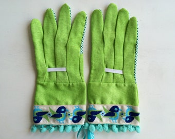 limited edition designer garden gloves vintage bird