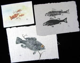 Set of Three GYOTAKU Fish Nature rubbings Original Collection Sunfish perch and a Crawfish fish art ...Cottage decor