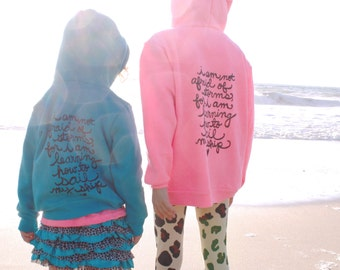 "Little Women Quote YOUTH Kids Zip Up Hoodie. Sizes 8-12 ""I am not afraid of storms..."" Made To Order"