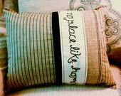 Pillow, 12x16, Throw, Toss, Decorative, Decor, Embroidered, Quote, Patchwork, Striped, White, Tan, Neutral, Navy Blue, Denim, Cotton, Burlap