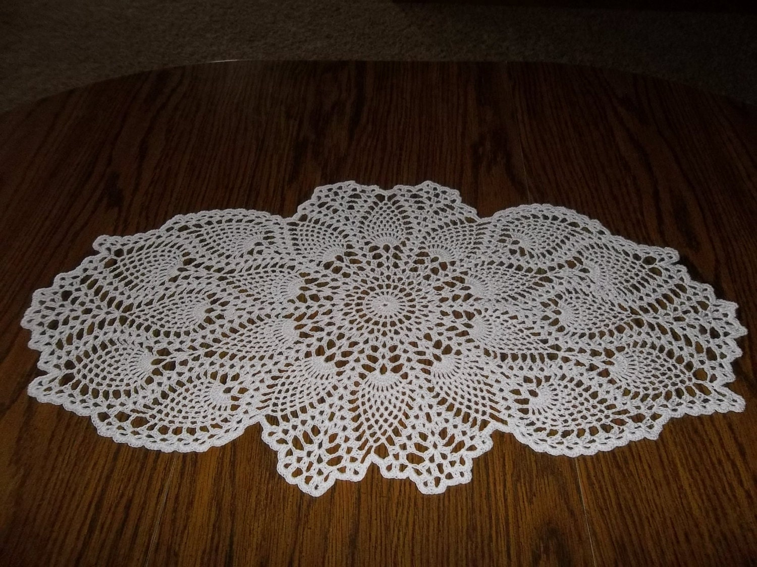 Crocheted Coffee Table Runner White In Color