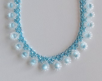 Handmade aqua dressy teardrop beaded choker necklace