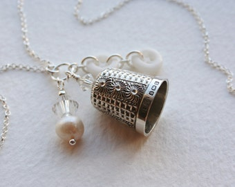 Antique Silver Thimble Charm Necklace Crystal Pearl Milk Glass Buttons