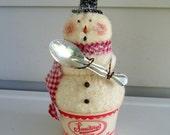 Primitive Snowman vintage ice cream cup spoon