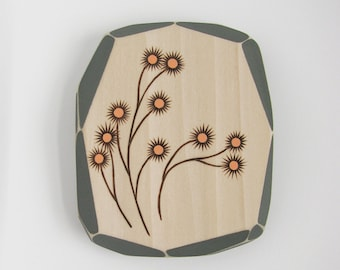 Modern Wood Wall Art, Modern Pyrography, Botanical Flowers, Geometric Art, Faceted Wood, Wood Burning