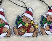 Santa Teddy Bear Gift Tags/Ornaments - Set of 5