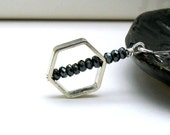 Geometric Modern Pendant Necklace Hematite and Sterling Silver Black and Silver Sleek Simple