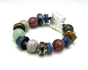 Boho Gypsy Luxe Statement Beaded Bracelet, Lampwork Sterling Silver Bracelet, Boutique Wearable Art, for Her Under 450