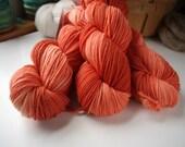 DK Weight Yarn, Hand Dyed Superwash Merino Wool, 310 yards/100 Grams, Tangerine Dream