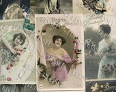 15 Antique French Postcards of Victorian Edwardian Women with French Script