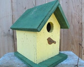Primitive Birdhouse Yellow and Green Chickadees Wrens Songbirds