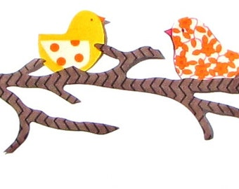 Two Birds On A Branch...Fabric Iron On Appliques