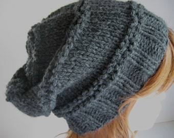 Slouchy Knit Hat,  Knit Chunky Hat, Slouchy Hat - Charcoal Grey