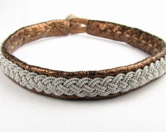 Copper Metallic Sami Bracelet - Leather Wrap Tin Metal Thread Braided Bracelet with Reindeer Leather and Antler Button Clasp
