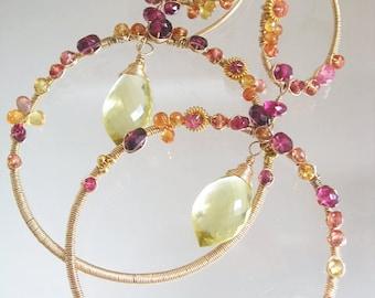 Large Sapphire Hoops, Fiery Sapphire Wire Wrapped Earrings, Statement, Pink Tourmaline, Lemon Qtz, Tangerine, Sculptural, Original Design