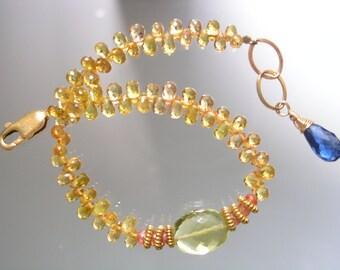 Sapphire Beaded Bracelet - Gold Sapphire Layering Bracelet - Slender Gemstone Bracelet - Kyanite - Lemon Quartz - Original Design