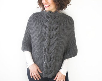 Dark Gray Hand knitted Shawl by Afra