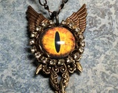 handmade OOAK big eye monster necklace