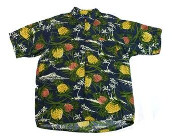 Vintage 1990s Navy Blue Pineapple Print Rayon Hawaiian Shirt Mens Size Large