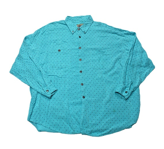 Vintage 90s teal rayon button up shirt mens by for Mens teal button down shirt