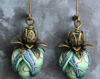 Polymer Clay and Brass Leverback Earrings