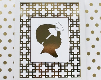 Gold Foil CUSTOM Silhouette Print- made from YOUR PHOTO - by Simply Silhouettes
