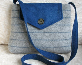 Molly Messenger Bag in Gray Sweater Wool and Blue Denim, Eco Friendly Upcycled Purse