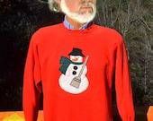 vintage 80s sweatshirt SNOWMAN christmas crazy xmas applique tacky ruffle Medium red