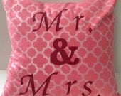 Mr. & Mrs. Pillow Covers/Ready to Ship/Pink Silver Burgundy Quatrefoil Design-Personalized Pillow-Wedding Gift-Bridal Gift-Shower Gift