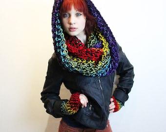 SET Rasta Love Cowl Hood Vegan scarf fingerless gloves Rainboww black
