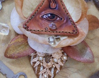 Tears of the All-Seeing Eye - Leather & Fiber Esoteric Brooch