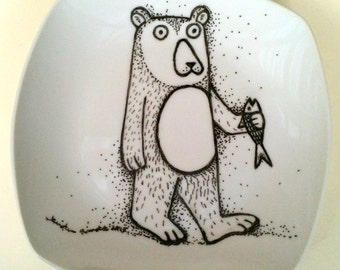 Hand Painted Bear Holding Fish Porcelain Plate