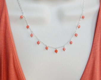 Salmon coral sterling silver necklace, beach necklace, summer necklace