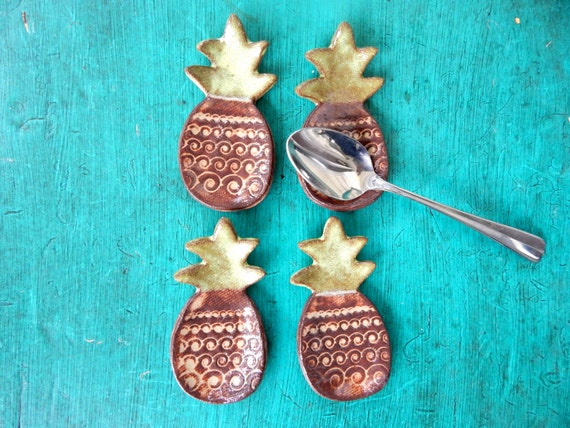 Pineapple Coffee Spoon Rests Set Of Four Favors Trinket