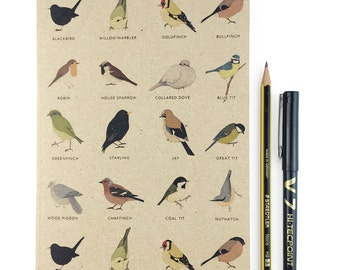 Garden Birds A5 plain notebook - wildlife / nature / birdwatching - recycled eco friendly gift