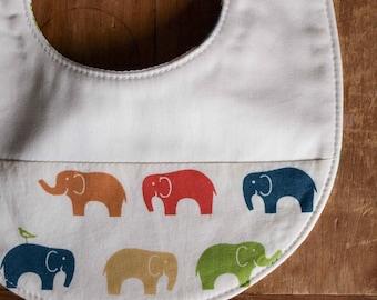 Elephant Baby Bib; Modern Teething Bib for Baby Boy or Girl; Organic Cotton Drool Bib; Newborn Baby Shower Gift under 20; Elephant Family
