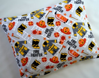 The Perfect Toddler Pillow ... Fire Fighter Uniform w/ Fire Chief Hat on Flannel... Original Design by Sew Cinnamon