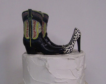 Wedding Cake Topper-Pair of Western Cowboy Boot with Leopard Print Stilettos-Groom's Cake Topper, Rustic Cake Topper