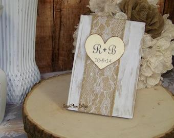 Wedding Guest Book, Rustic Guest Book, Burlap & Lace Wedding, Shabby Chic Wedding Decor